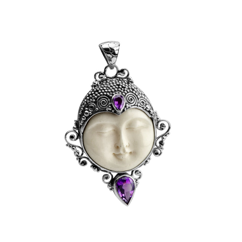 Serene Carved Balinese Face with Amethyst Sterling Silver Pendant