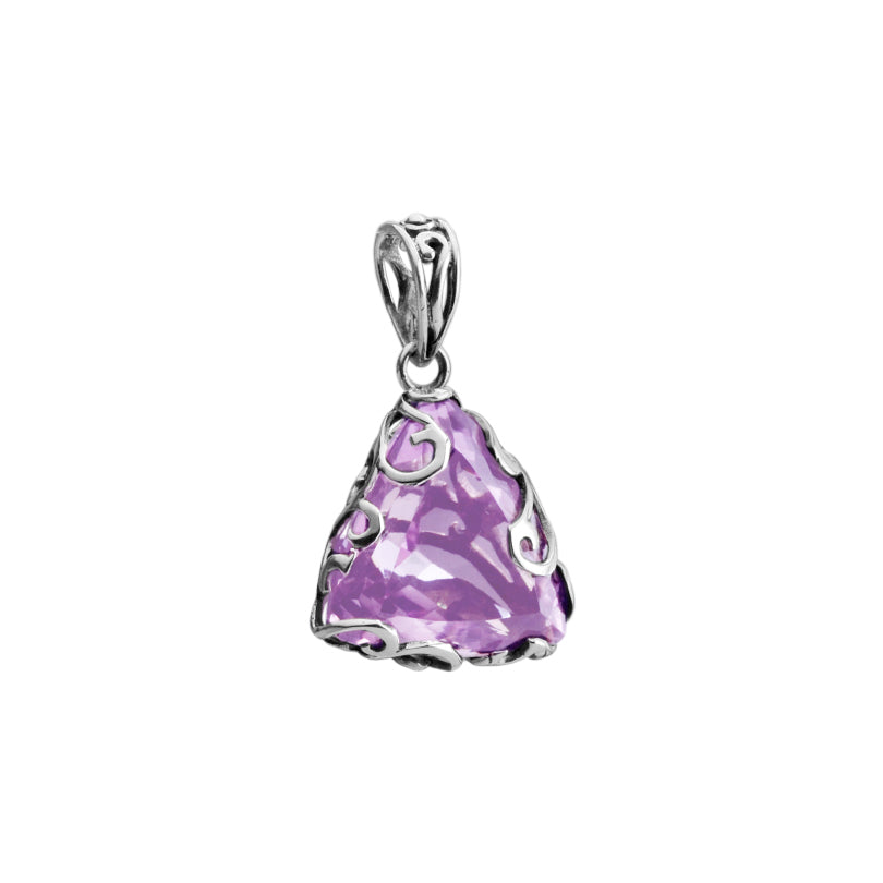Starborn Triangular Cut Amethyst Encased in Decorative Sterling Silver Pendant