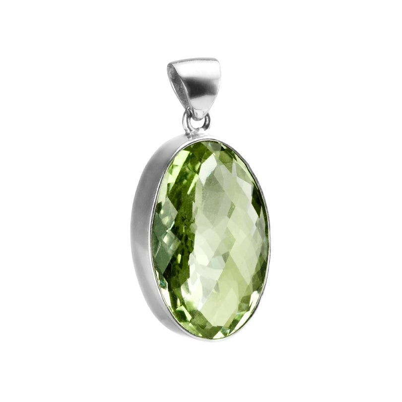 Amazing Sparkly Diamond Cut Large Green Amethyst Sterling Silver Statement  Pendant