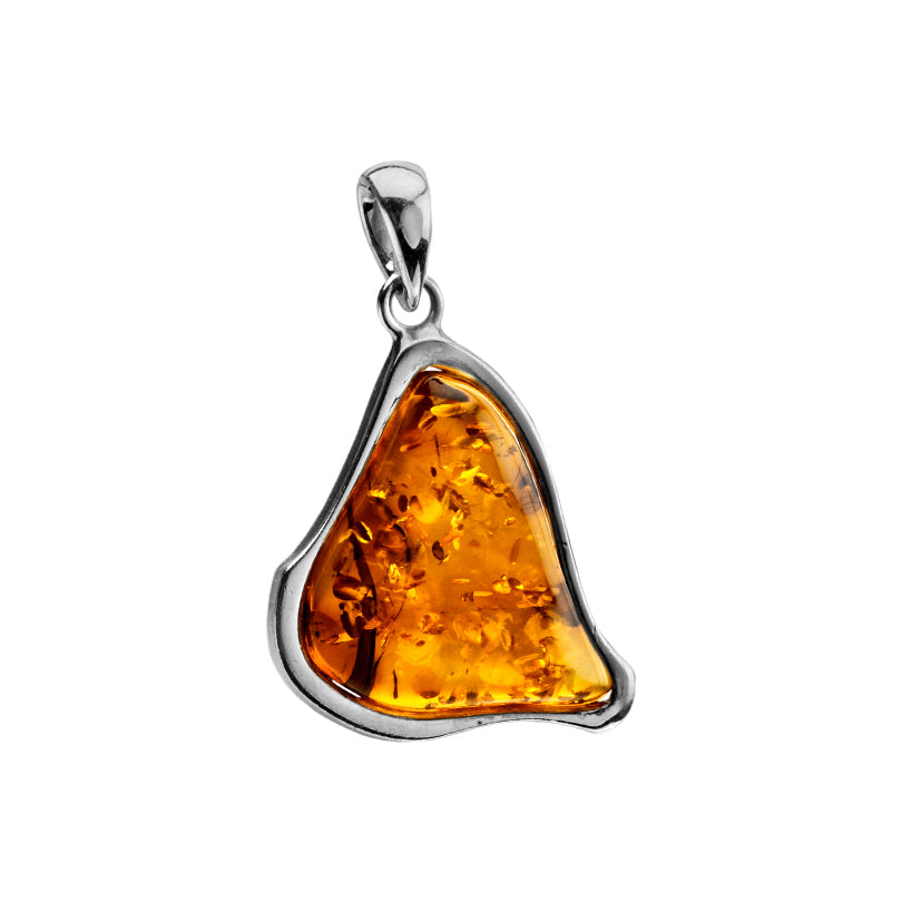 Bright Honey Cognac Baltic Amber Sterling Silver Pendant