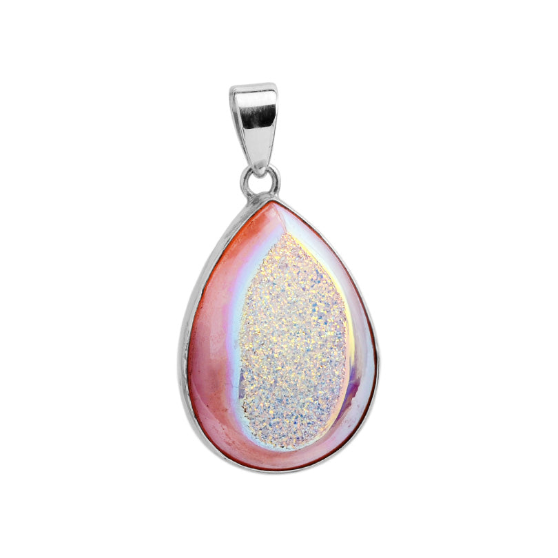 Lovely Soft Pink Titanium Drusy Sterling Silver Pendant