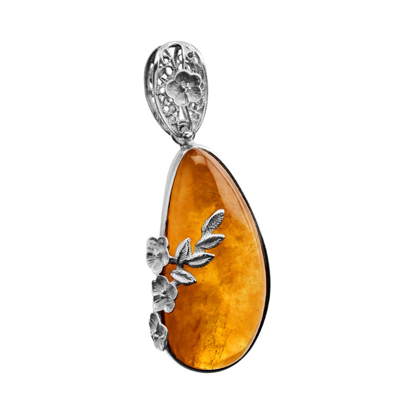 Beautiful Cognac Baltic Amber Filigree Flower Setting Sterling Silver Pendant