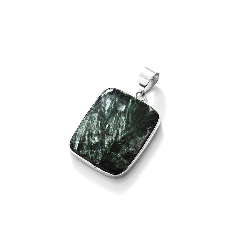 Divine Seraphinite Earth Stone Sterling Silver Statement Pendant
