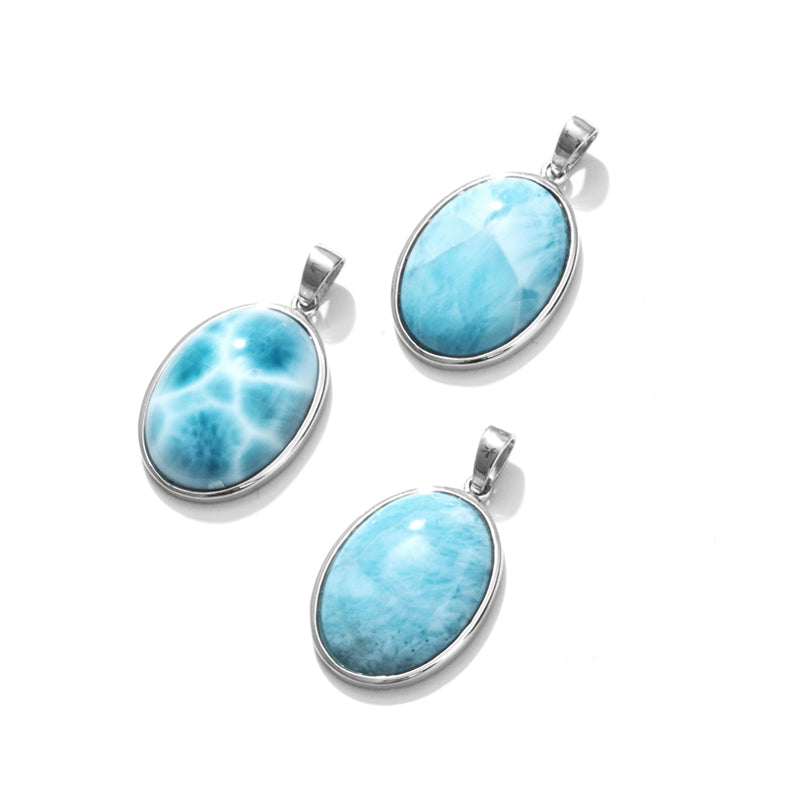 Unique Larimar Sterling Silver Statement Pendant