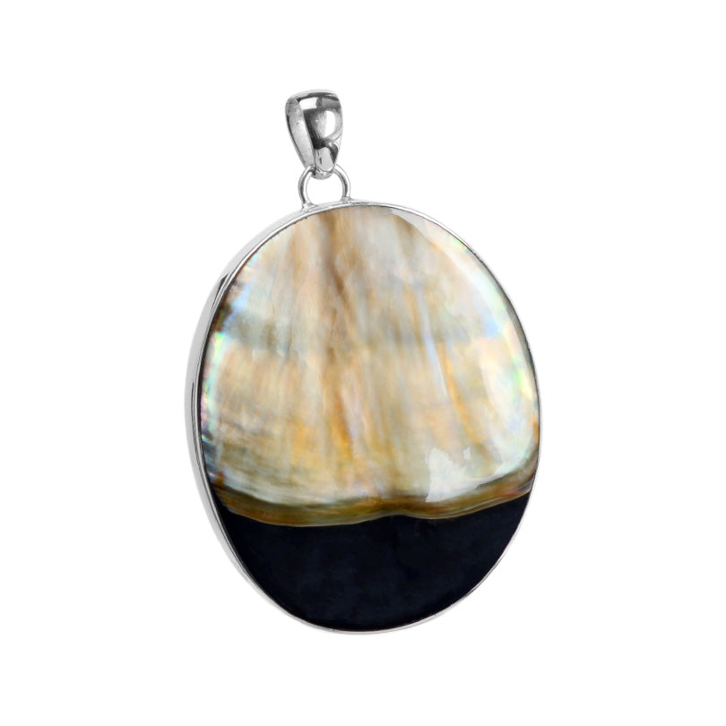 Shimmering, Beautiful Black Lip Shell Sterling Silver Pendant