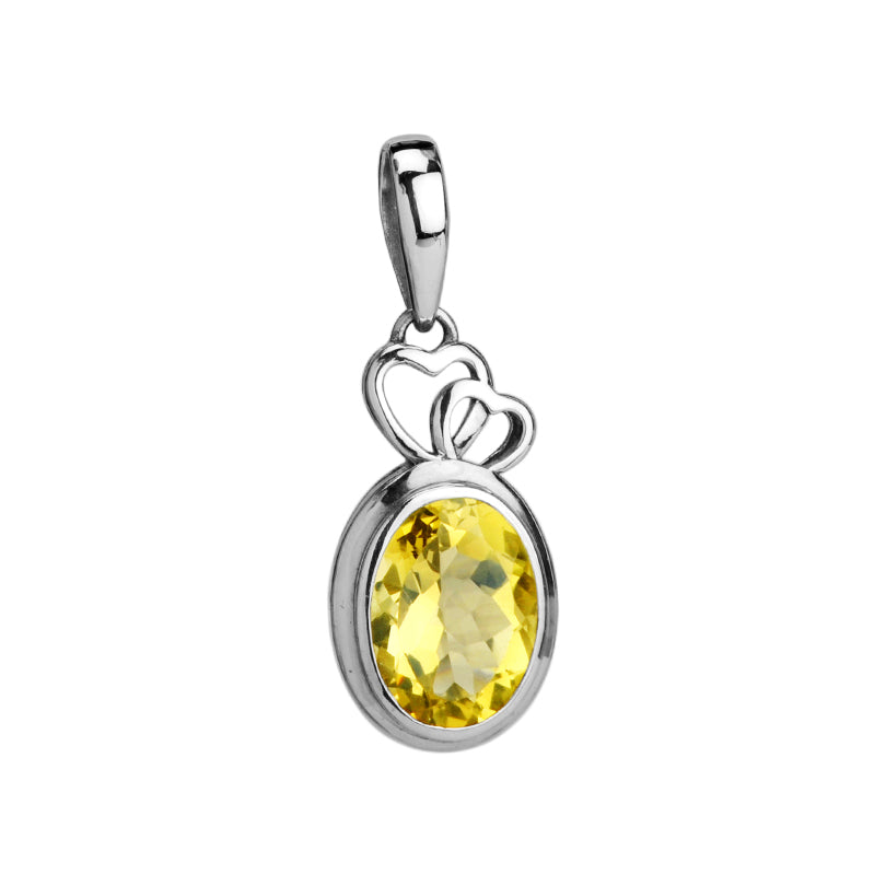 Beautiful Sparkling Faceted Lemon Quartz Sterling Silver Heart Pendant