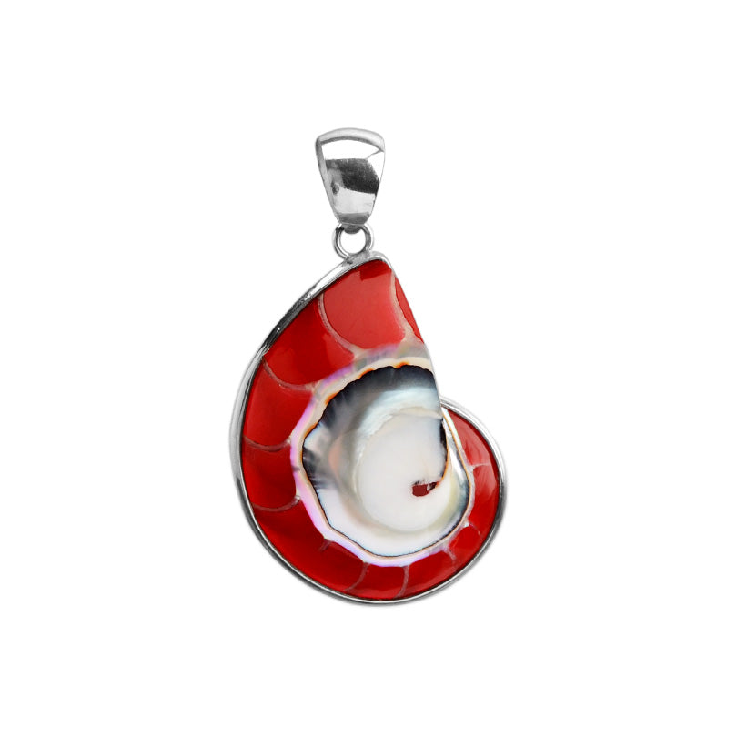 Summer's Coming! Red Seashell Sterling Silver Pendant