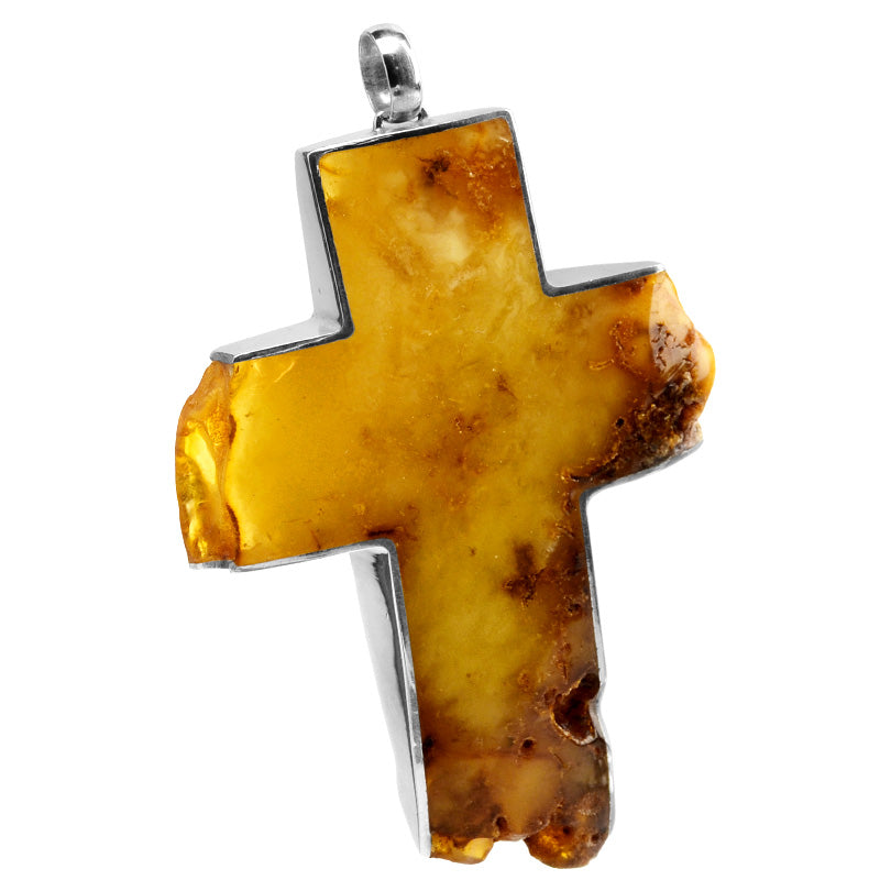 Gigantic Designer Raw Baltic Butterscotch Amber Statement Sterling Silver Cross Pendant *chain not included