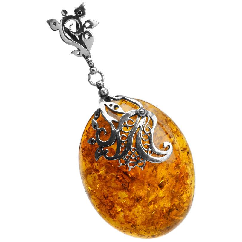 Gorgeous Large Baltic Cognac Amber Sterling Silver Statement Pendant