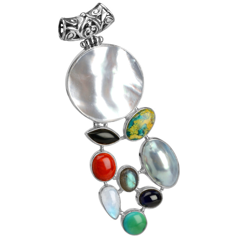 Beautiful Mixed Gemstone Bali Sterling Silver Pendant