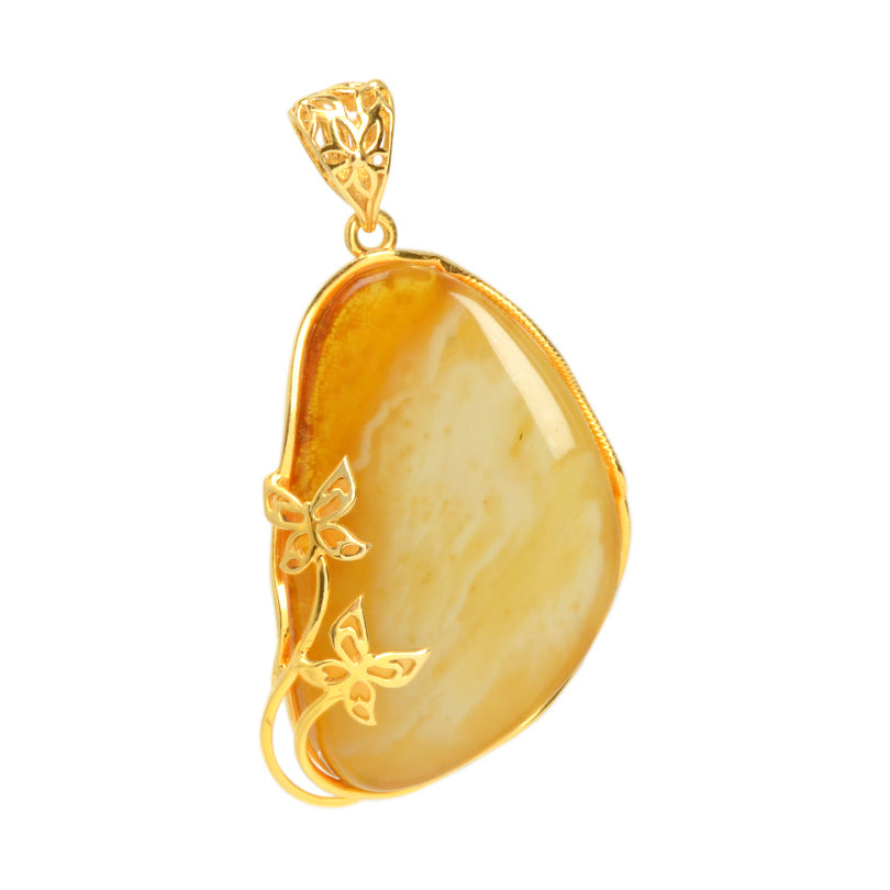 Gorgeous Butterscotch Baltic Amber Gold Plated Silver Statement Butterfly Statement Pendant