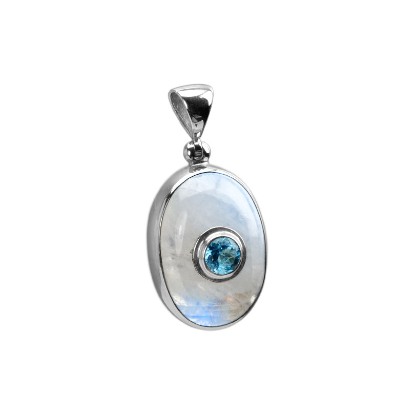 OMG Beautiful Starborn Blue Topaz and Simmering Rainbow Moonstone Sterling Silver Pendant-one of a kind!