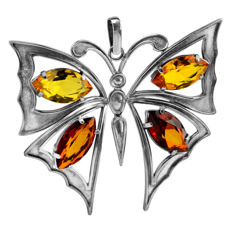 Glistening Faceted Baltic Amber Sterling Silver Large Butterfly Statement Pendant