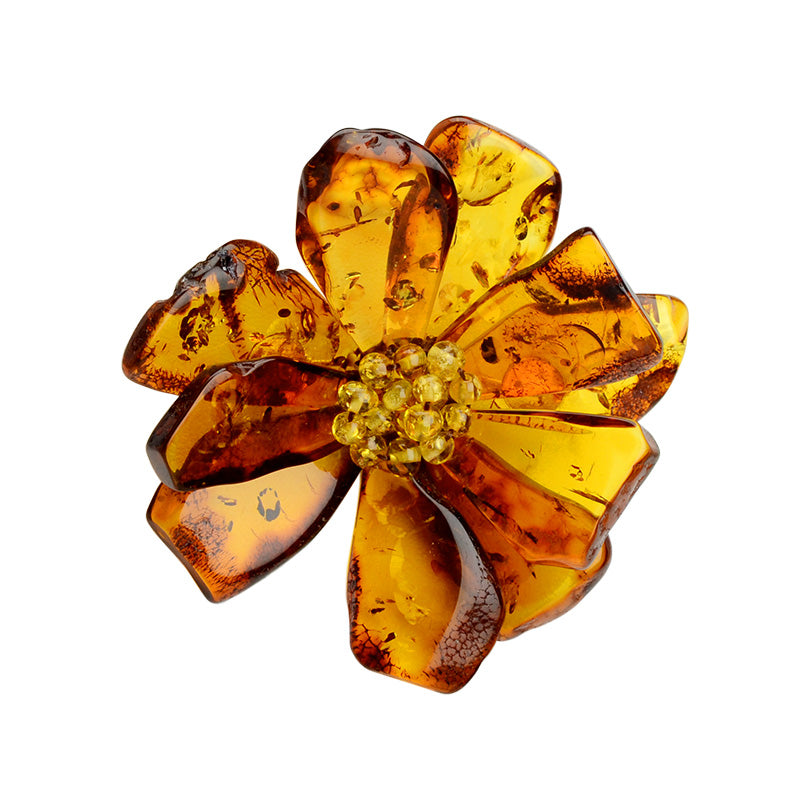 Gorgeous Polish Designer Cognac Baltic Amber Flower Brooch