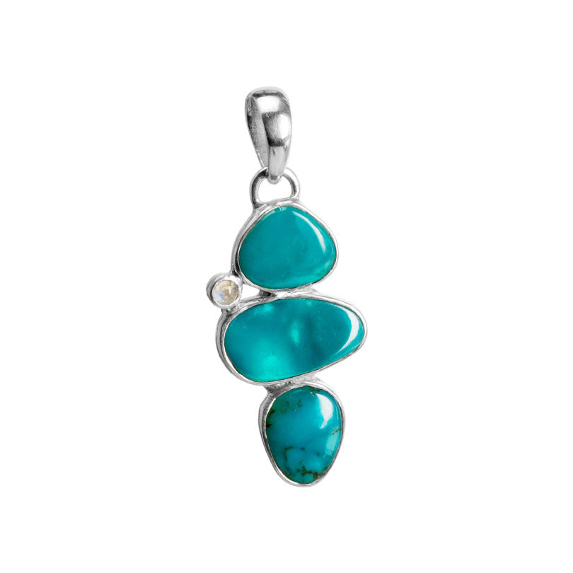 Captivating Caribbean Blue Arizona Turquoise And Moonstone Sterling Silver Pendant.