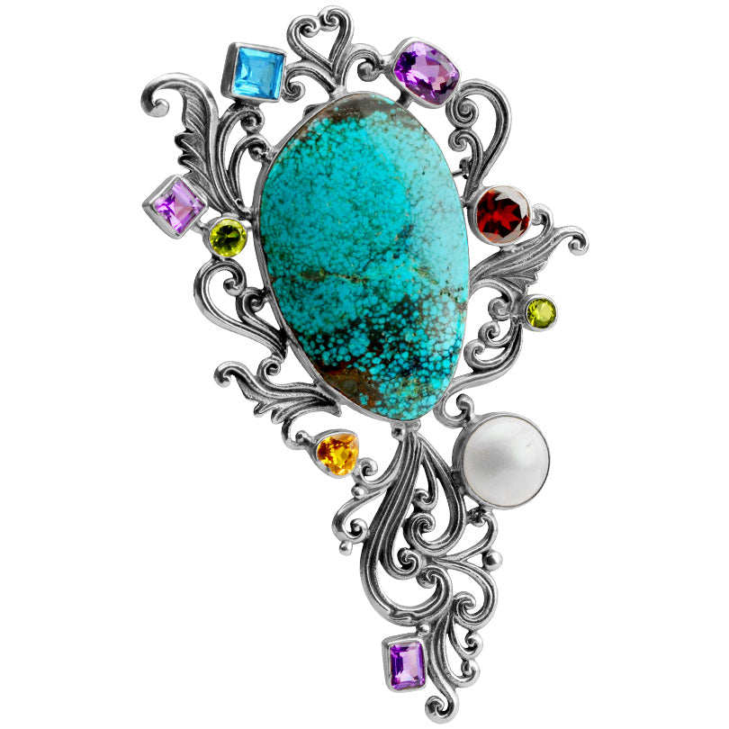 Magnificent Genuine Turquoise Multi-Stones Sterling Silver Statement Pendant and Brooch