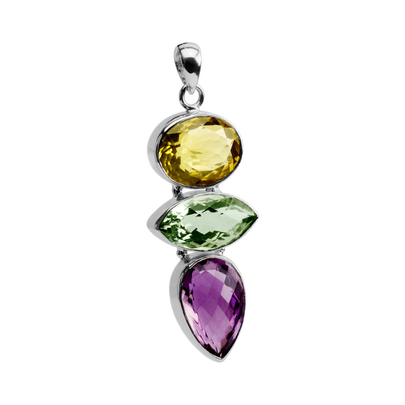 Very Vibrant Stones of Amethyst, Green Amethyst and Lemon Quartz Sterling Silver Statement Pendant