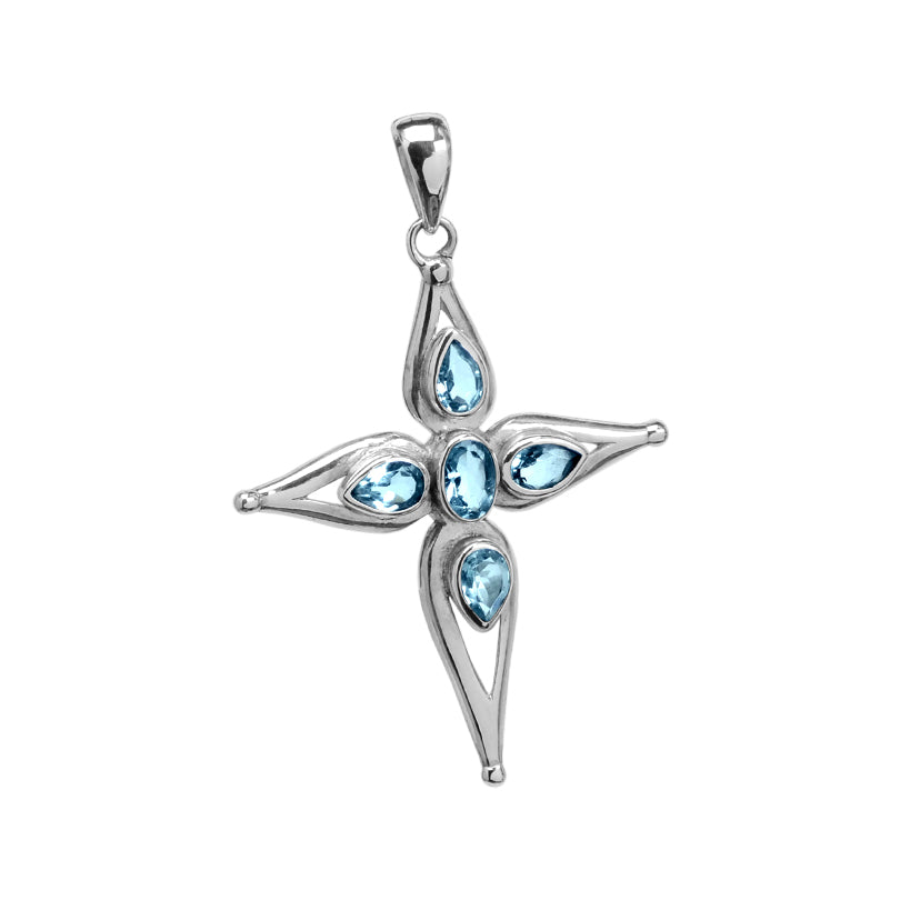Sky Blue Topaz Sterling Silver Cross Pendant