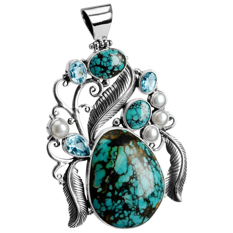 Wow! Magnificent Work of Art! Turquoise, Blue Topaz & Fresh Water Pear Sterling Silver Statement Pendant-only one!