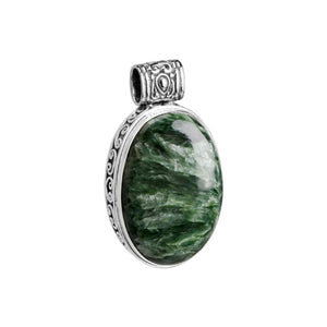 Gorgeous Forest Green Seraphinite Sterling Silver Pendant With Stunning Balinese Filigree.