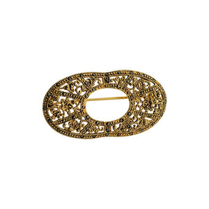 Golden Art Deco Marcasite Brooch
