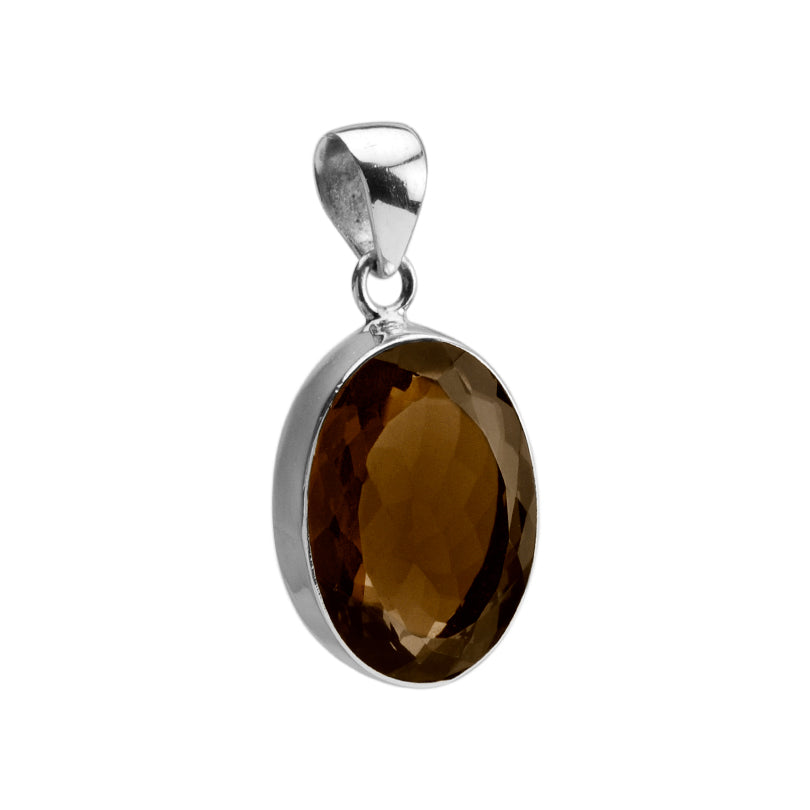 Faceted Diamond Cut Smoky Quartz Sterling Silver Pendant