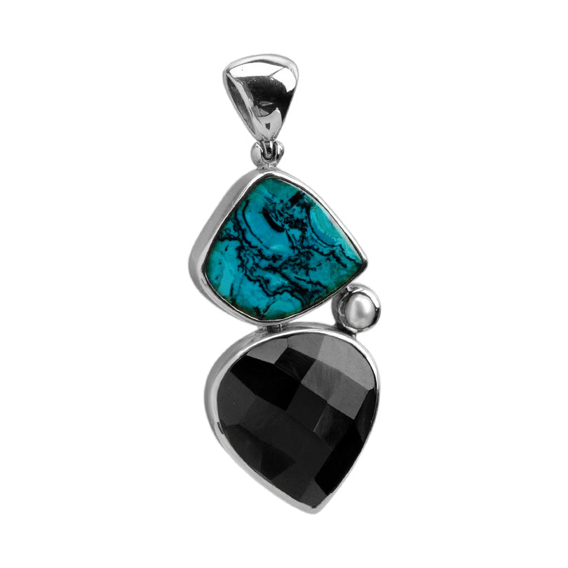 Starborn Blue Chrysocolla with Faceted Black Onyx Sterling Silver Statement Pendant