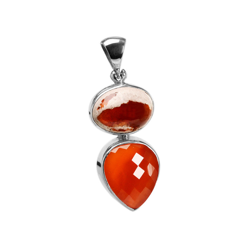 Starborn Deep Red Fire Agate & Faceted Carnelian Sterling Silver Statement Pendant