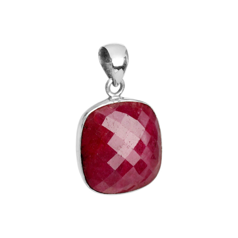 Rich Red Cranberry Faceted Corundum Sterling Silver Pendant