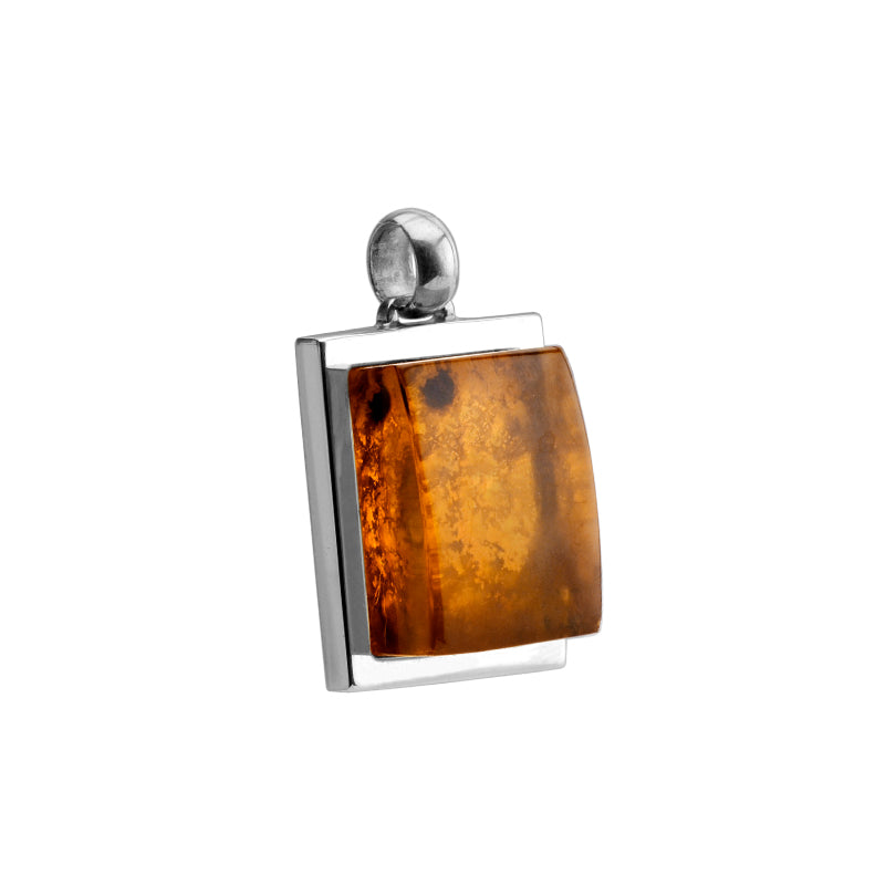Polish Designer 3 Dimensional Baltic Cognac Amber Sterling Silver Pendant-one of a kind