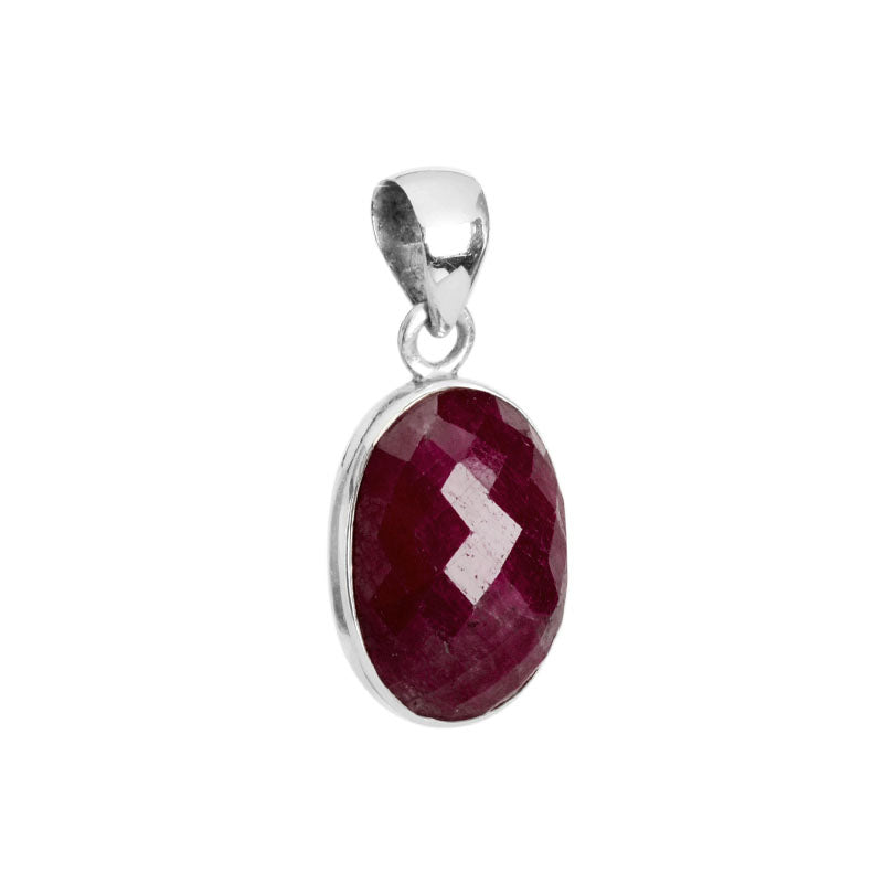 Rich Burgundy Faceted Cranberry Corundum Sterling Silver Pendant