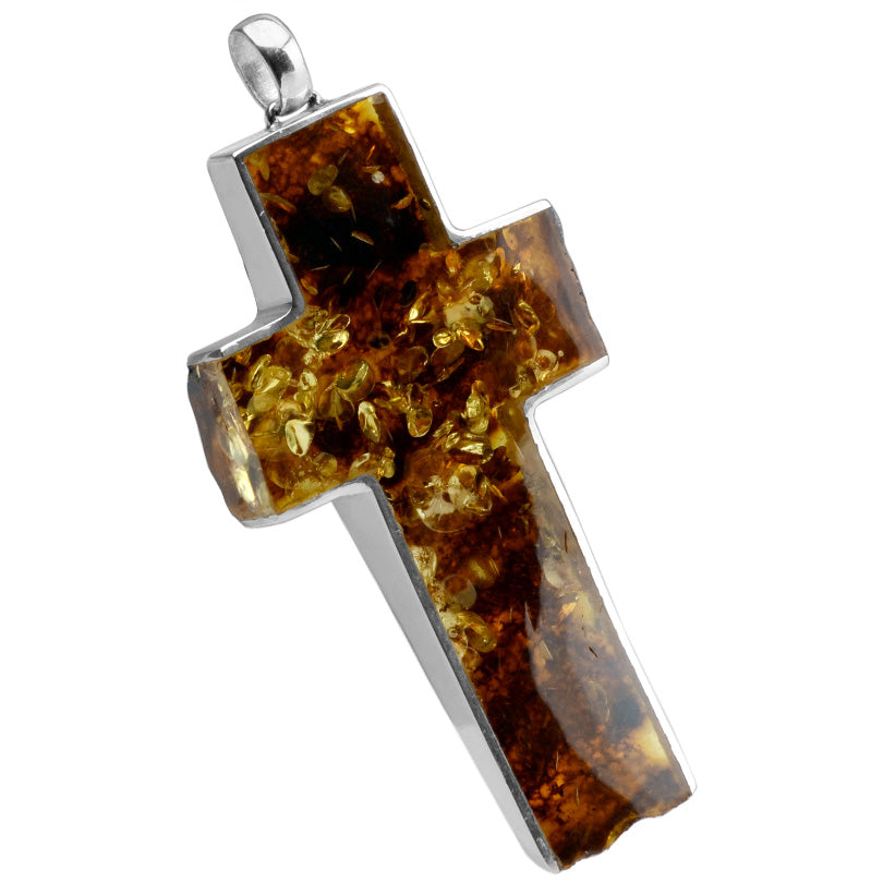 Polish Designer Sparkling Baltic Cognac Amber Cross Statement Pendant