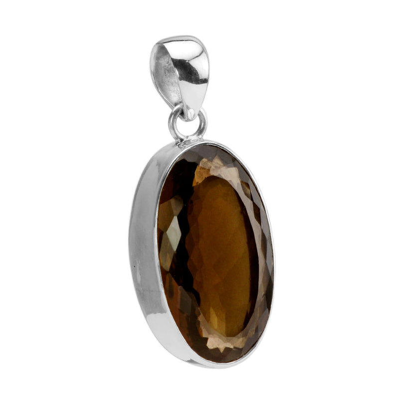 Magnificent Faceted Smoky Quartz Sterling Silver Statement Pendant