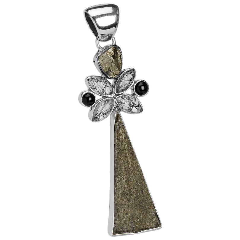 Fabulous Pyrite, Black Onyx & Black Rutilated Quartz Sterling Silver Pendant