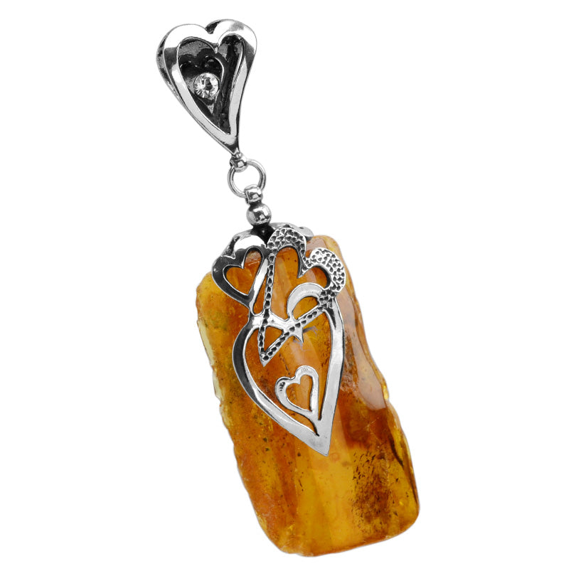 Gorgeous Honey Cognac Baltic Amber Valentine Sterling Silver Pendant