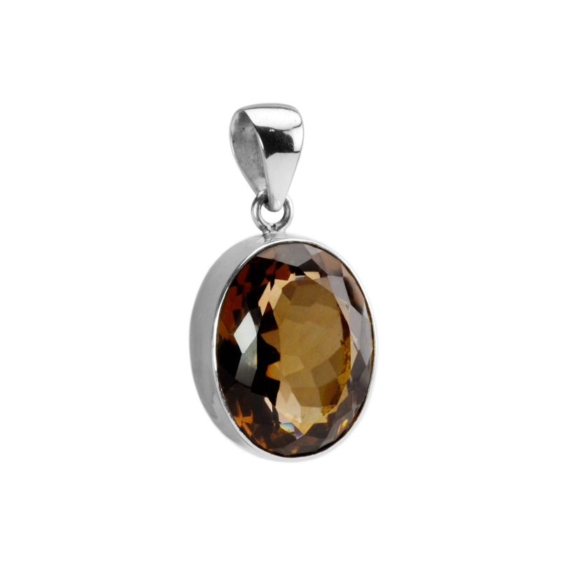 Sparkling Golden Brown Smoky Quartz Sterling Silver Pendant