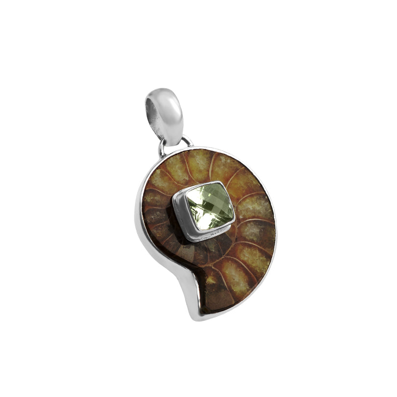 Rich Dark Ammonite Pendant Green Amethyst Center Sterling Silver Pendant