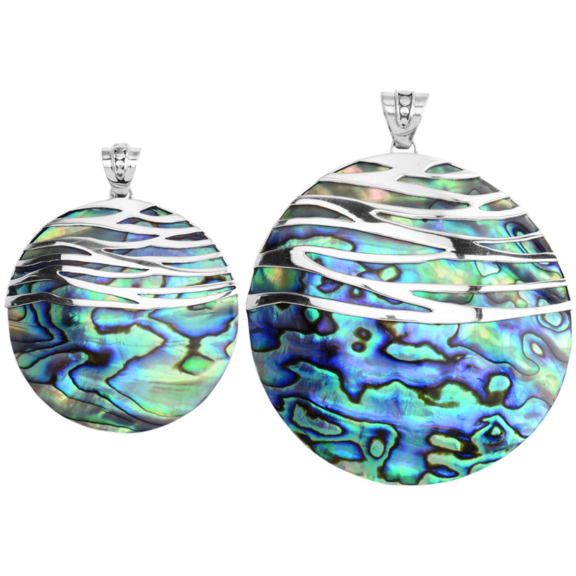 Waves of Silver Adorning Abalone Statement Pendant