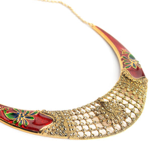 Vibrant Red and Gold Plated Marcasite Peacock Statement Necklace