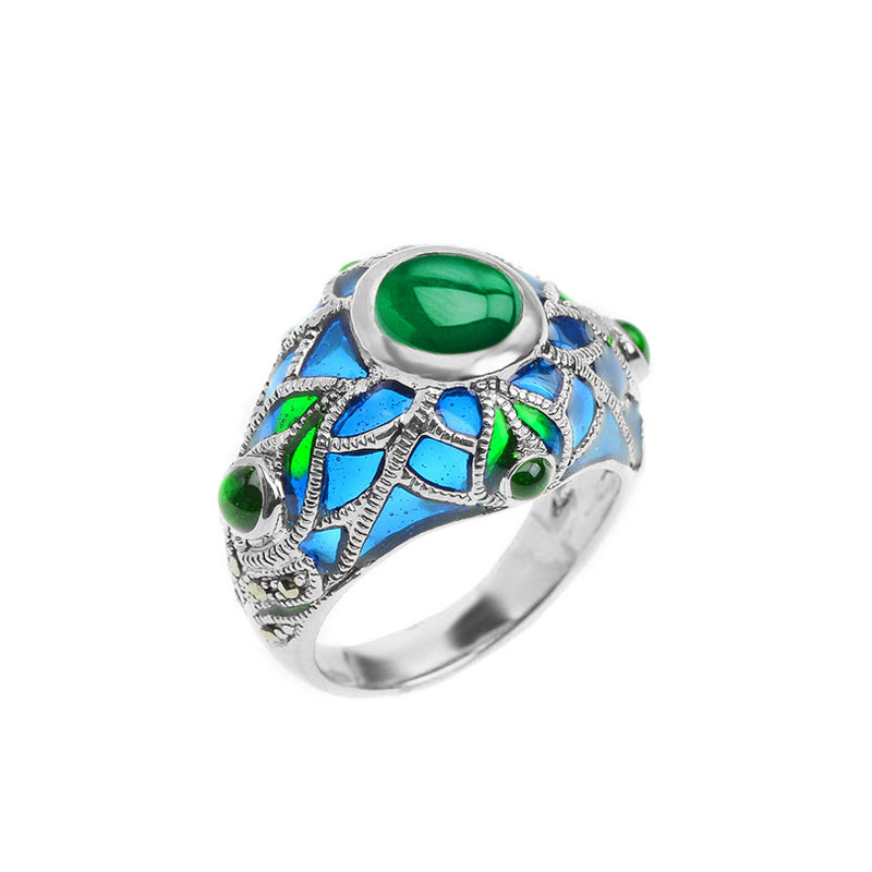 Silver Plated Green Agate And Marcasite Grand Peacock Ring