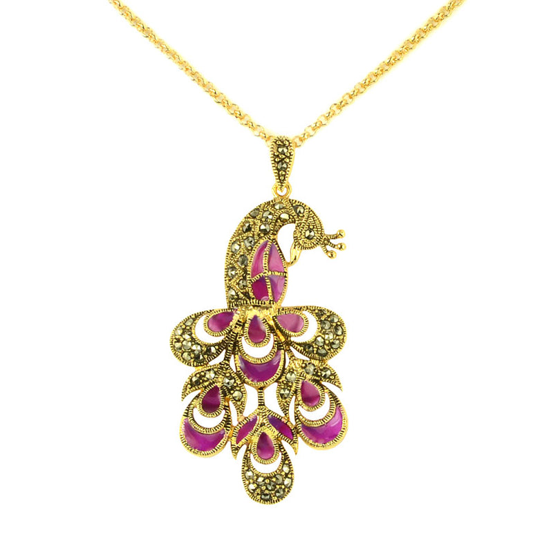 14kt Gold Plated Marcasite Purple Enamel Peacock Necklace