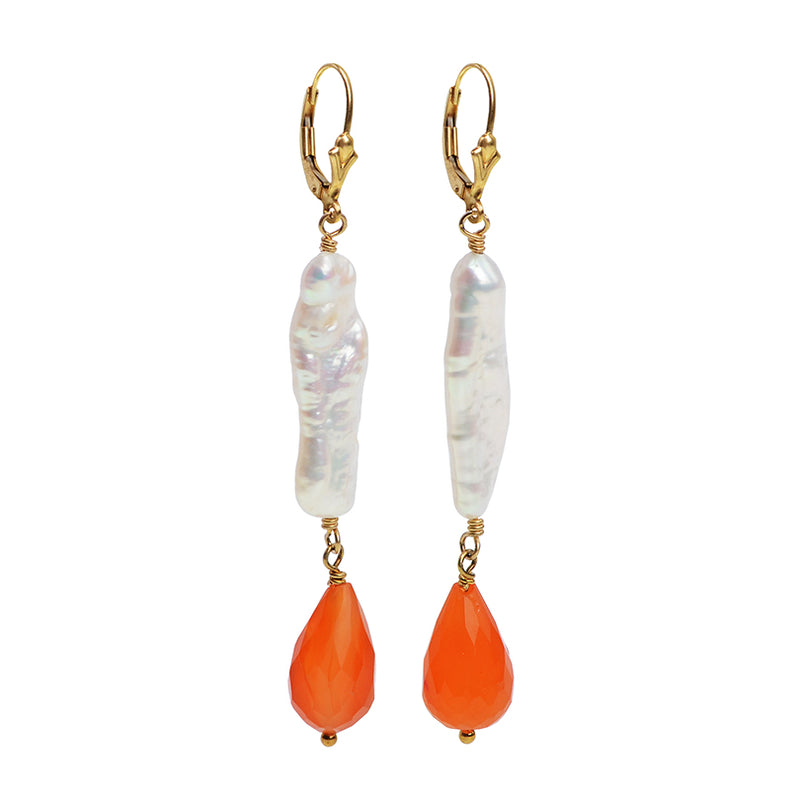Glamorous Carnelian Fresh Water Pearl Earrings on Gold Filled Hooks