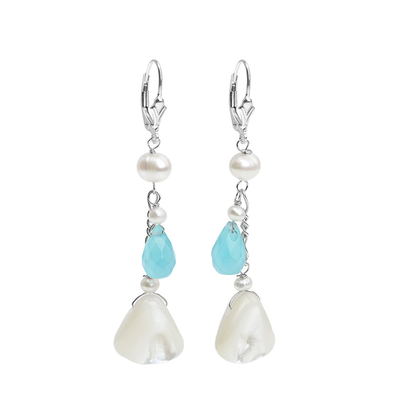 Lovely White Shell and Blue Jade Sterling Silver Earrings