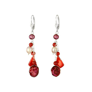 Luxurious Color Combination Coral Fresh Water Pearl sterling Silver Earrings