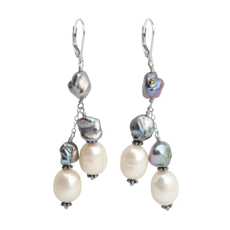 Sterling Silver Fresh Water Pearl & Coin Pearl Earrings