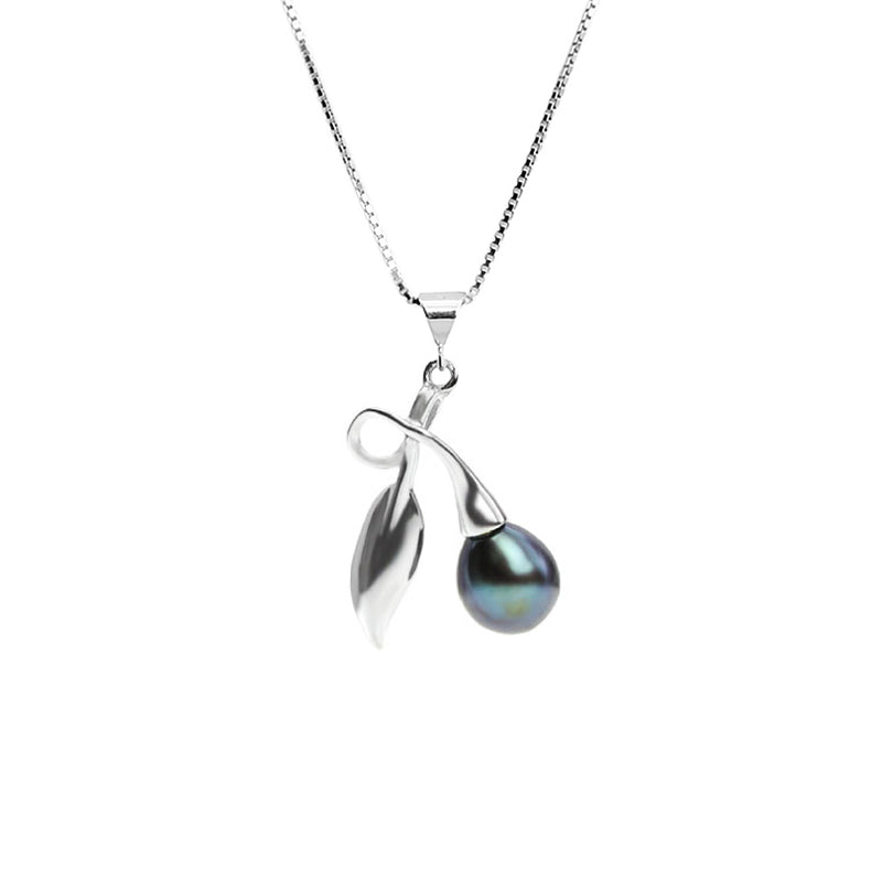 Elegant Dark Fresh Water Pearl with Leaf Design Sterling Silver Necklace