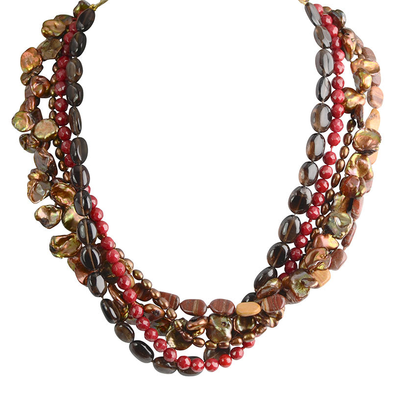 5-Strand Rich Colors of Coral and Jasper 18kt Gold Plated Silver Necklace