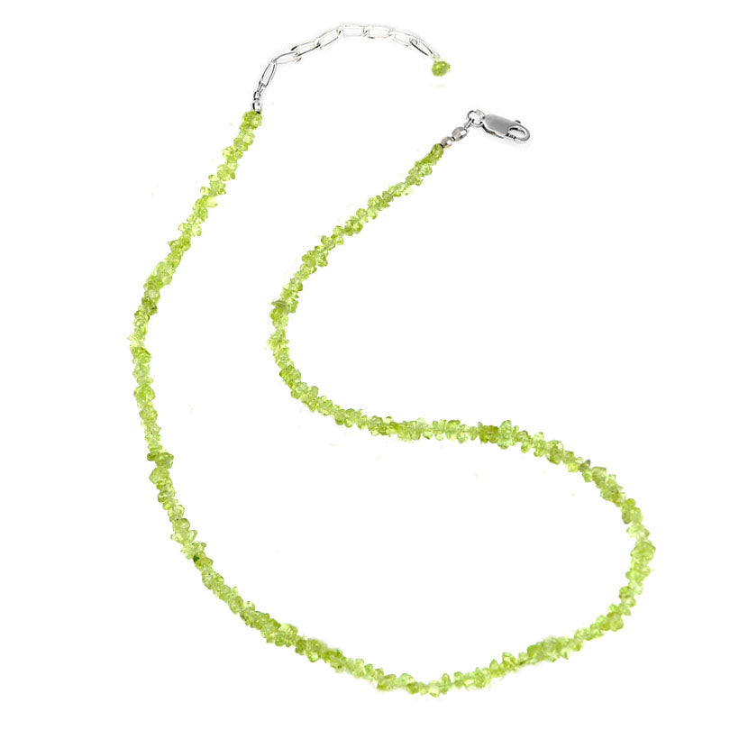 Petite Green Peridot Beaded Necklace with Sterling Silver Clasp