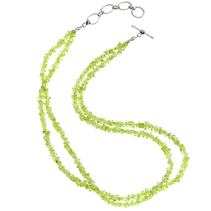 Peridot Necklace with Sterling Silver Toggle Clasp