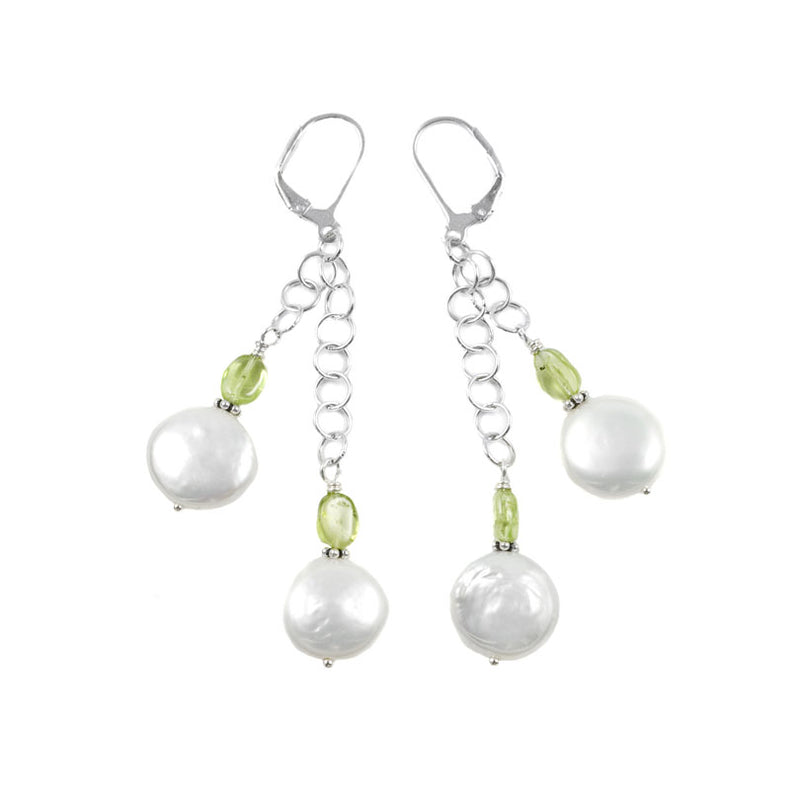 Flirty White Fresh Water Coin Pearl & Peridot Sterling Silver Earrings